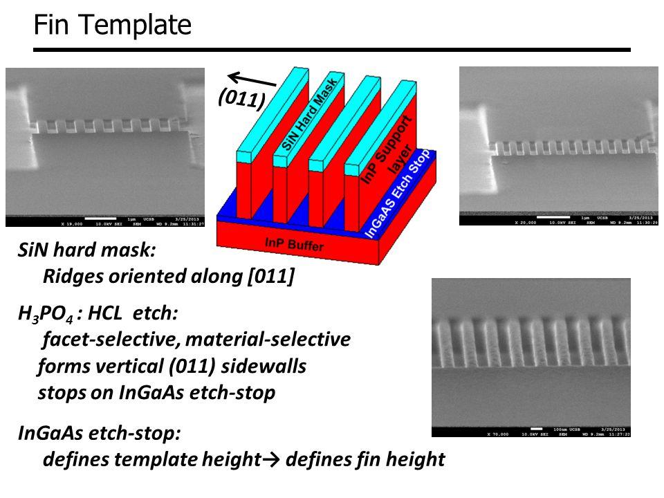 Fin Template (011) SiN hard mask: Ridges oriented along [011]